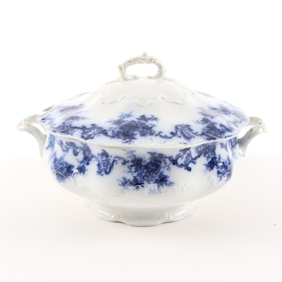 New Wharf Pottery Flow Blue Tureen, Late 19th Century