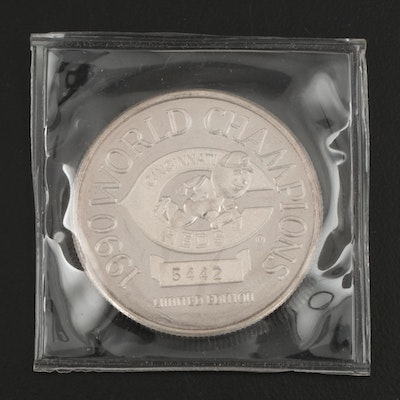 Cincinnati Reds World Series Champions Limited Edition Fine Silver Coin, 1990