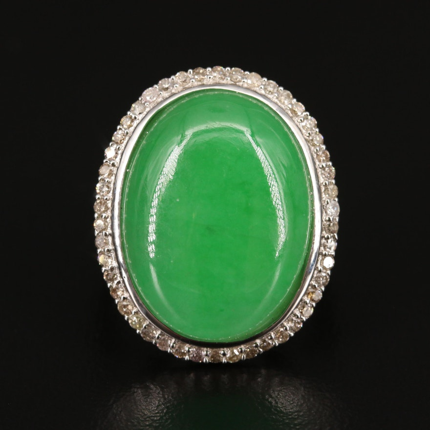 Sterling Silver Jadeite and Diamond Halo Ring