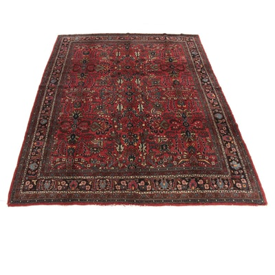 9'0 x 11'11 Hand-Knotted Persian Lilihan Room Sized Rug, 1930s
