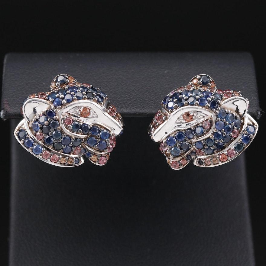 Sterling Silver Sapphire Jaguar Head Button Earrings