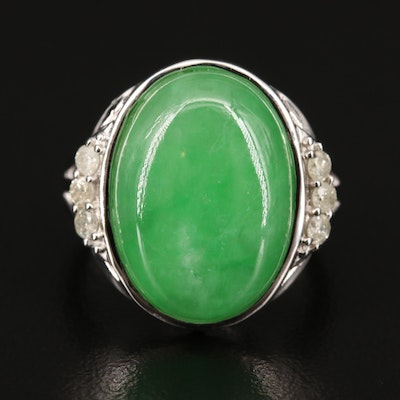Sterling Silver Jadeite and Diamond Ring with Split Shoulders