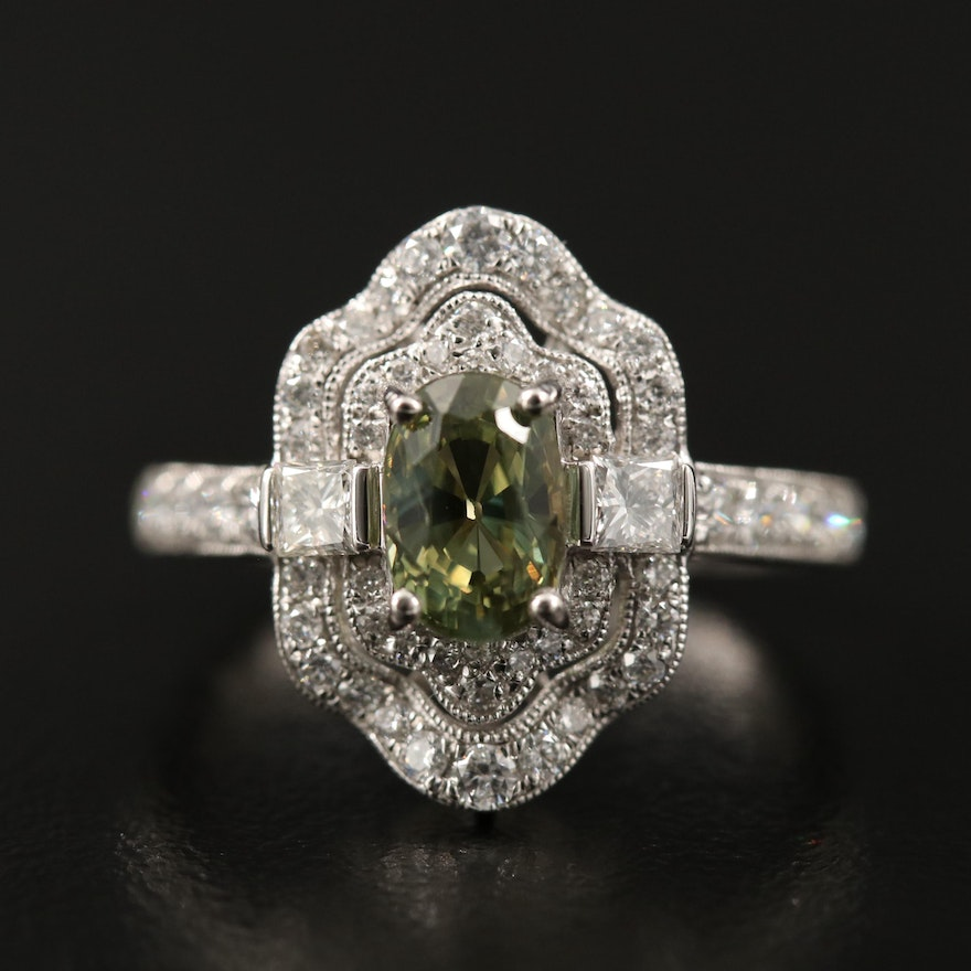 Platinum 1.49 CT Alexandrite and Diamond Ring with GIA Report