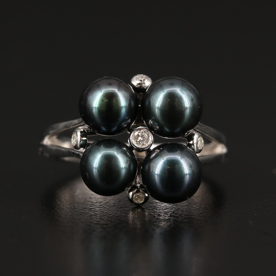 Sterling Silver Pearl and Diamond Ring