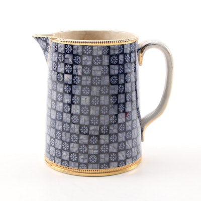 English Blue and White Aesthetic Movement Creamer, Late 19th-Early 20th Century