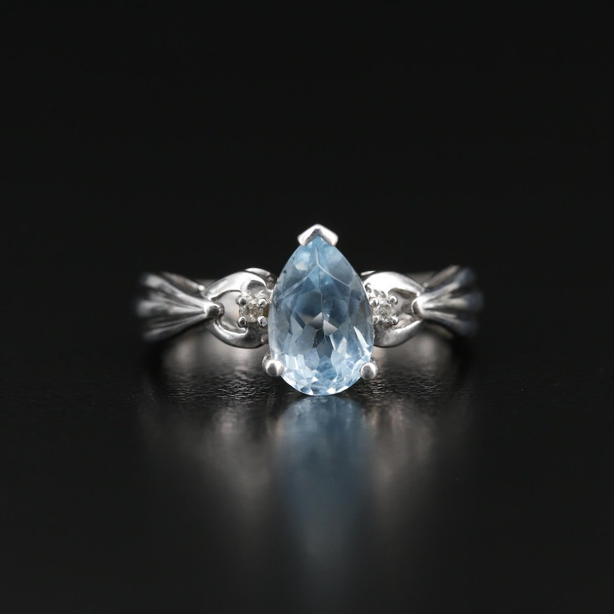 10K Blue Topaz Ring with Diamond Accents