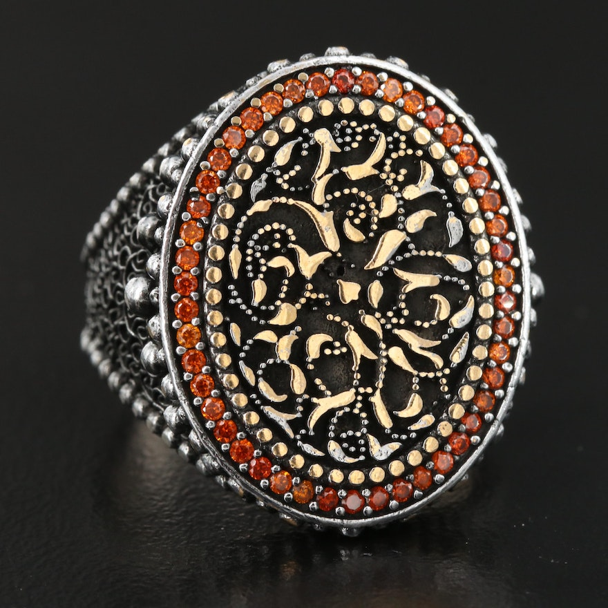 Sterling Silver Cubic Zirconia Floral Motif Ring