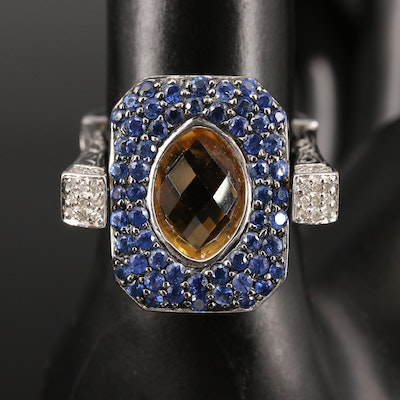 14K Citrine, Sapphire and Diamond Reversible Ring