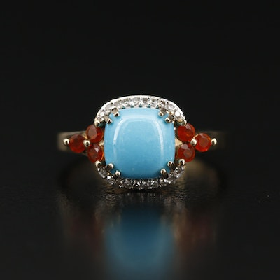 14K Turquoise, Fire Opal and Diamond Ring