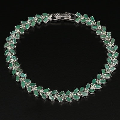 Sterling Silver Emerald and Chrysoberyl Bracelet