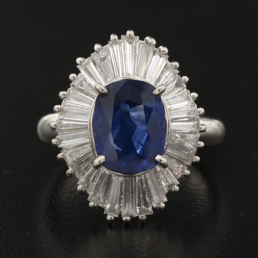 Platinum 2.03 CT Sapphire and 1.45 CTW Diamond Ring with GIA Report