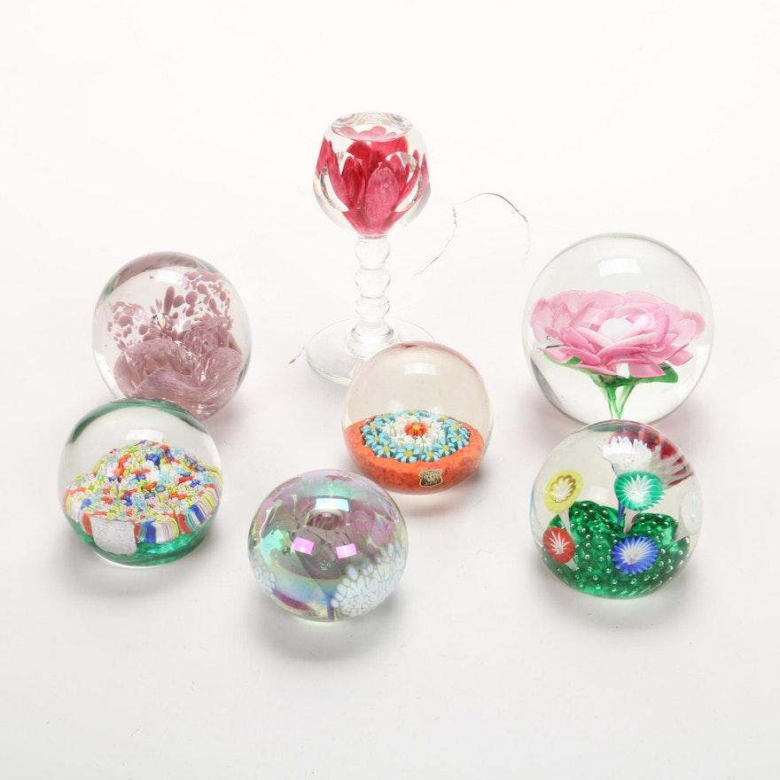 Floral Motif Art Glass Paperweights