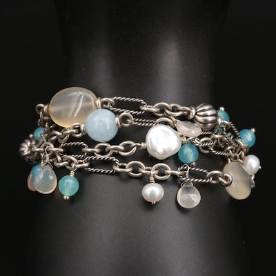 David Yurman Sterling Aquamarine, Pearl and Chalcedony Multi-Strand Bracelet
