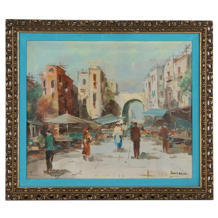 Market Scene Oil Painting, Late 20th Century