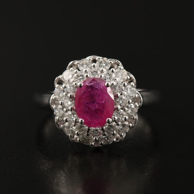 Platinum 1.05 CT Ruby and Double Diamond Halo Ring with GIA Report