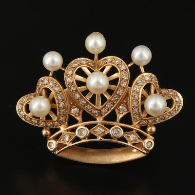 14K Pearl and Diamond Crown Brooch with Heart Accents