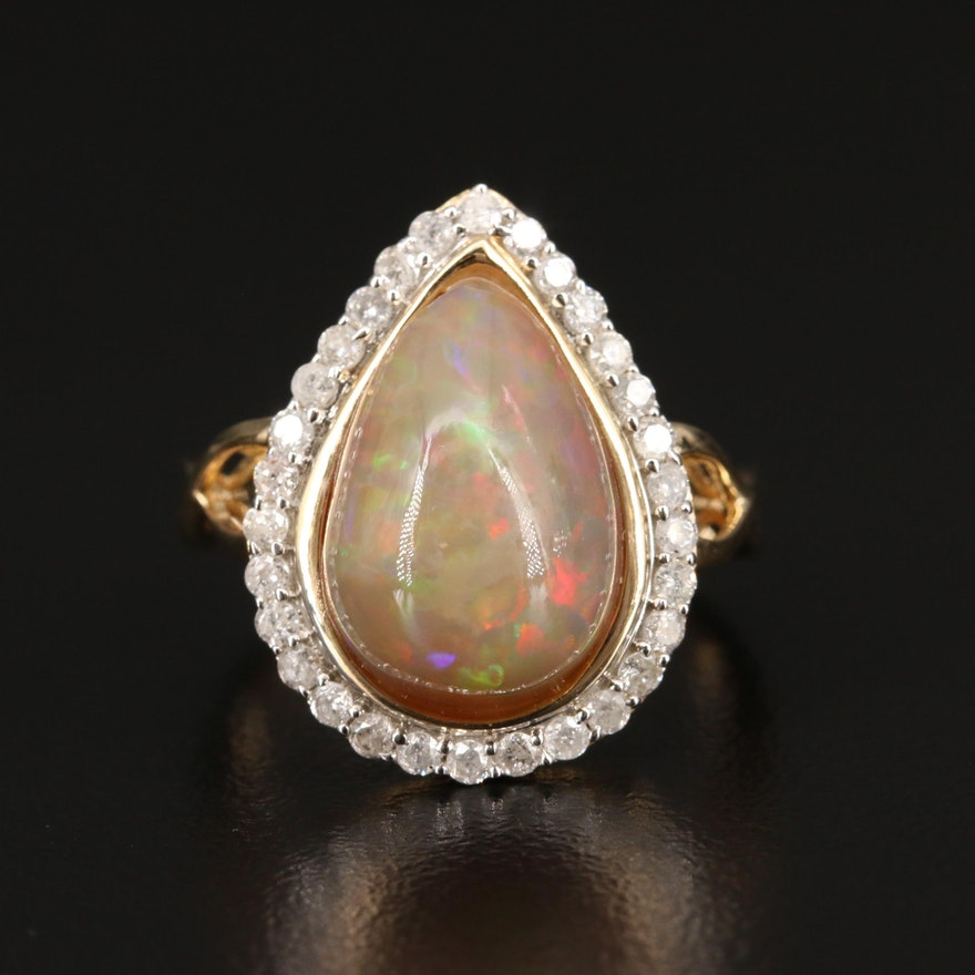 Sterling Silver Opal and Diamond Halo Teardrop Ring