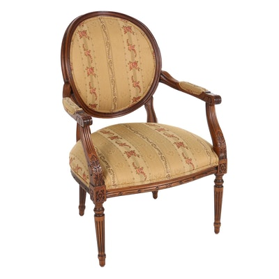 Ethan Allen Carved Louis XVI Style Oval Back Open Armchair, Late 20th Century