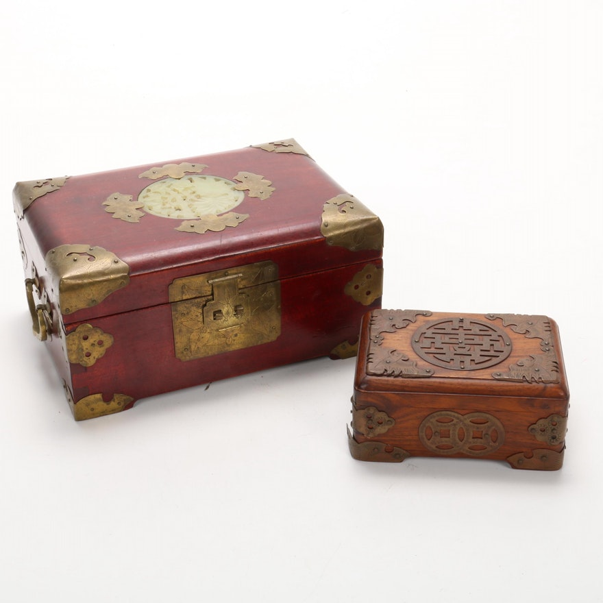 Chinese  Serpentine and Brass Embellished Jewelry Boxes