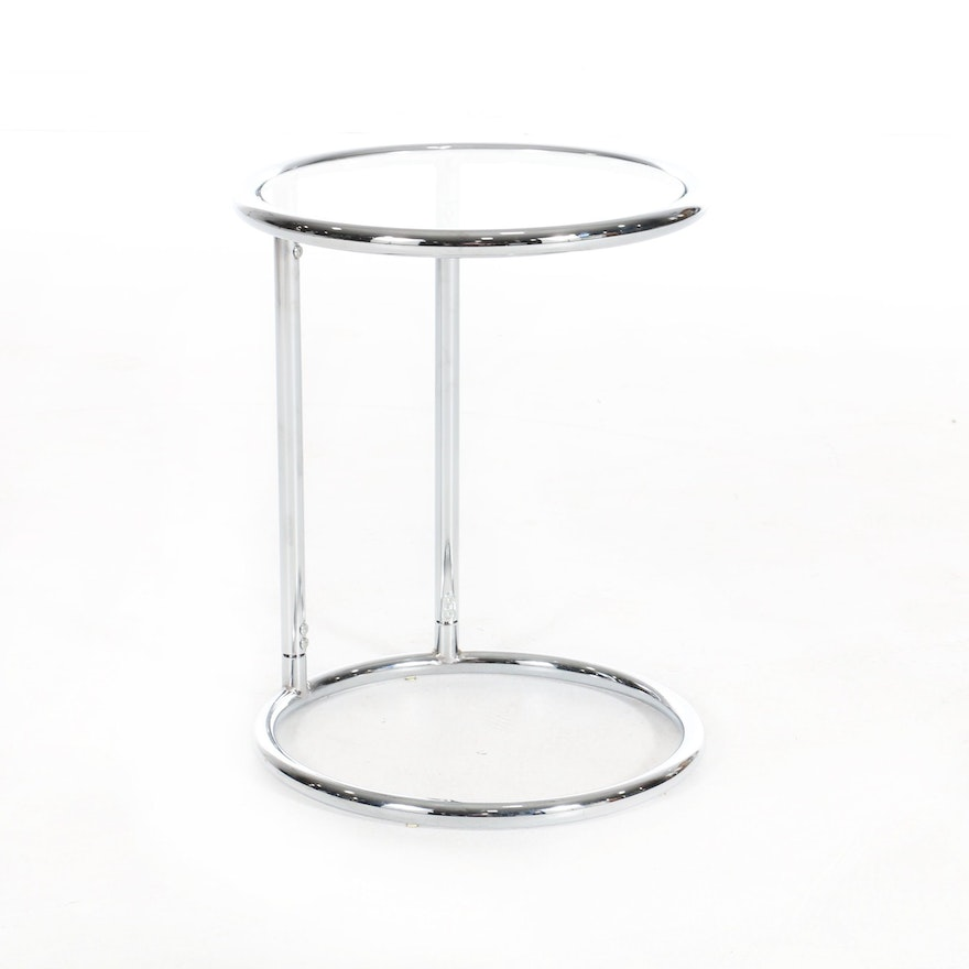 Modern Eileen Gray Style Chrome Side Table with Glass Top, 21st Century