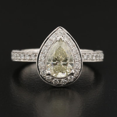 18K 1.79 CTW Diamond Halo Teardrop Ring