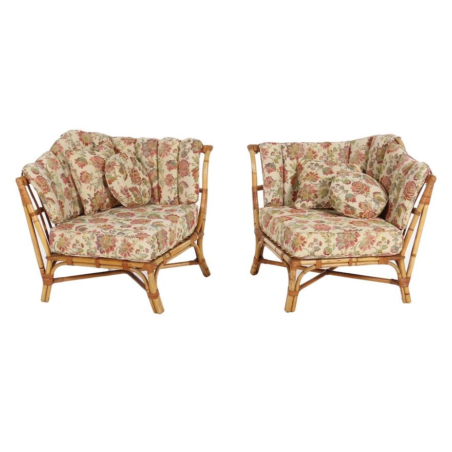 Pair of Bent Bamboo Corner Chairs, Late 20th Century
