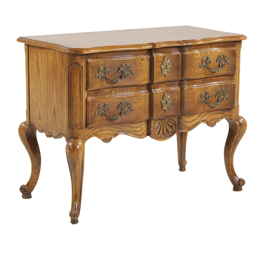 Baker French Provincial Style Oak Lowboy, Late 20th Century