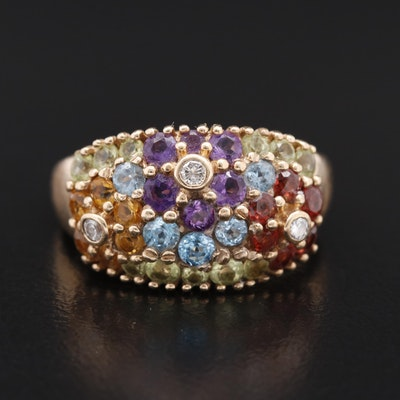 10K Diamond and Gemstone Floral Ring