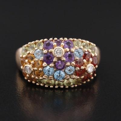 10K Diamond and Gemstone Floral Ring