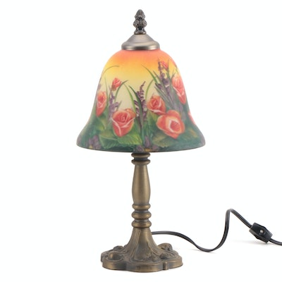 Victorian Style Parlor Lamp with Hand-Painted Glass Shade