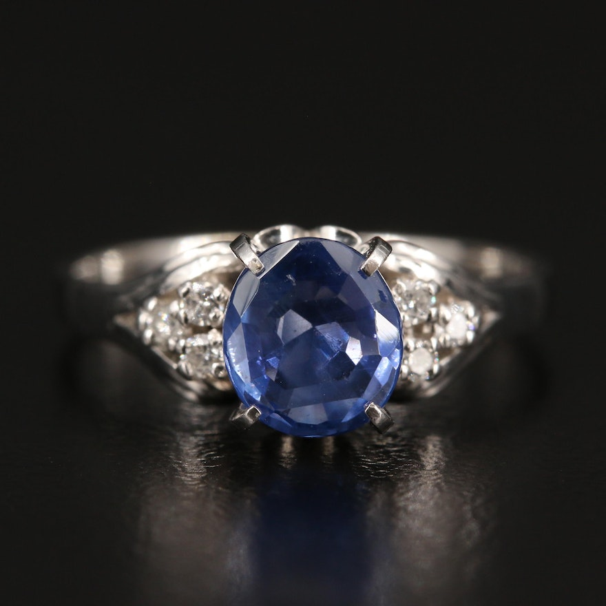 Platinum 2.09 CT Sapphire and Diamond Ring with GIA Report