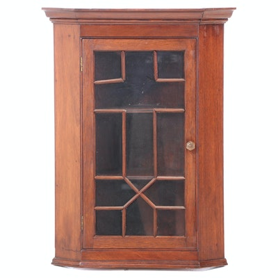 Chippendale Style Mahogany Glazed Hanging Corner Cupboard