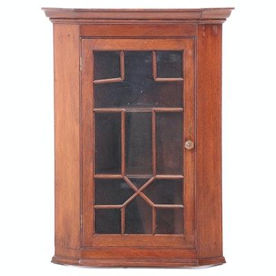 Chippendale Style Mahogany Glazed Hanging Corner Cupboard