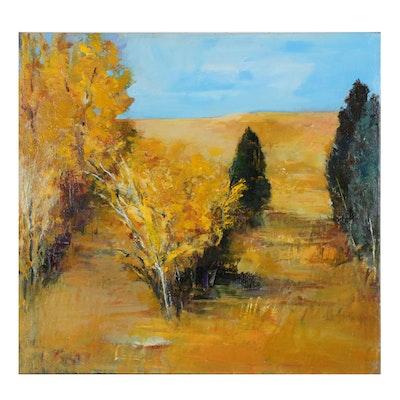 "Mark Whitmarsh Acrylic Landscape Painting ""Autumn Splendor"""