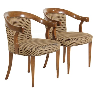 Pair of Baker Furniture Curved Back Open Armchairs, Late 20th Century