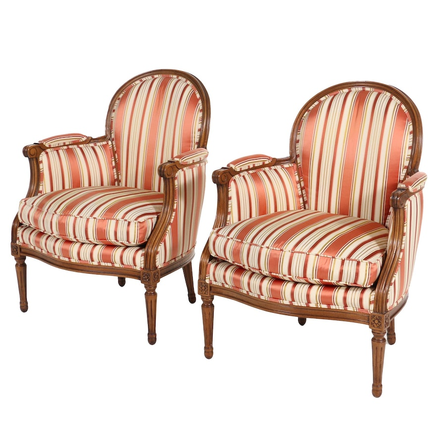 Pair of Baker Furniture Louis XVI Style Upholstered Armchairs, Late 20th Century