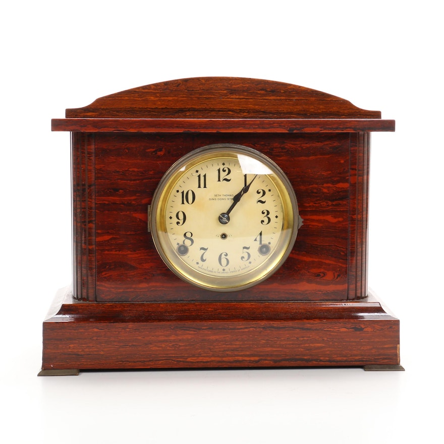 Seth Thomas Adamantine Faux Veneer Mantel Clock, Late 19th-Early 20th C.