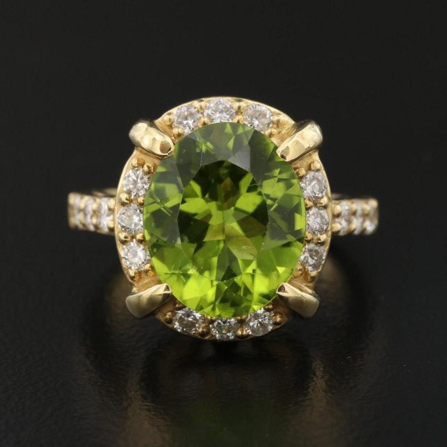 18K Peridot and Diamond Ring