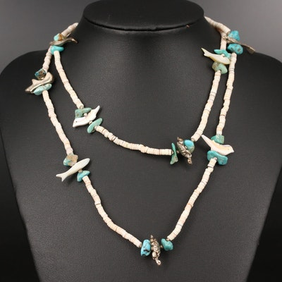 Southwestern Turquiose and Shell Beaded Bird Fetish Necklace