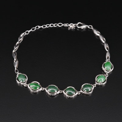 Sterling Silver Jadeite Bracelet with GIA Report