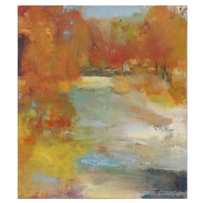 """Mark Whitmarsh Abstract Oil Landscape Painting """"Tree Shadow Line"""""""