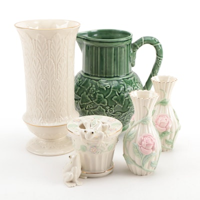 """Lenox Bone China Vases and  """"Summer Terrace"""" Pitcher, Late 20th to Early 21st C."""