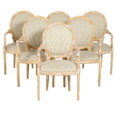 Six Custom Oval Back Open Armchairs with Tree Branch Carving, 21st Century
