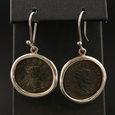 Earrings with Circa 280 A.D. Ancient Roman Imperial AE Antoninianus of Probus