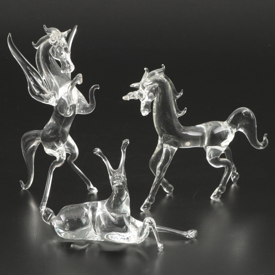 Glass Mythical Figurines Including Pegasus and Unicorn, Mid to Late 20th Century