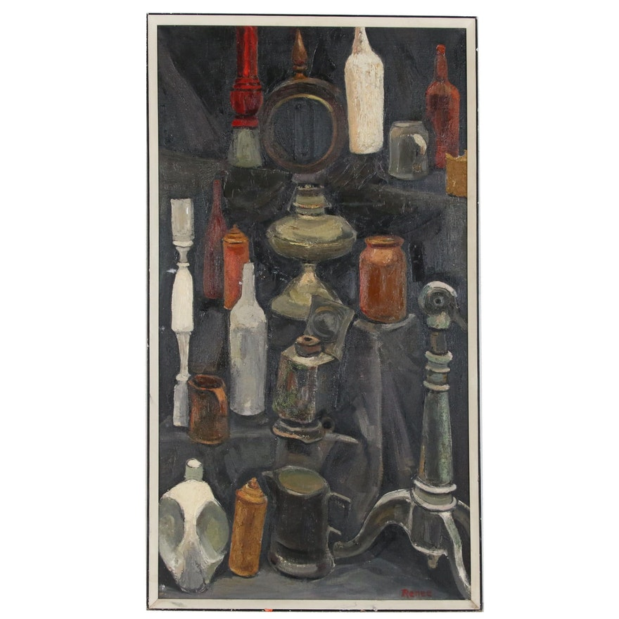 Still Life Oil Painting of Bottles, Mid to Late 20th Century