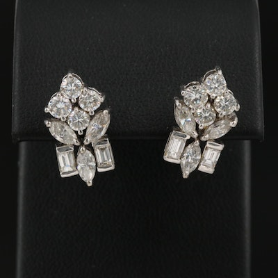 18K 2.58 CTW Diamond Cluster Earrings
