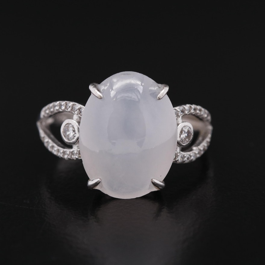Sterling Silver Jadeite and Cubic Zirconia Ring with GIA Report