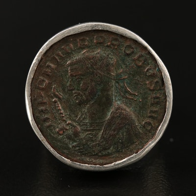 Ring with Circa 280 A.D. Ancient Roman Imperial AE Antoninianus Coin of Probus