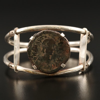 Bangle with Circa 491 A.D. Ancient Byzantine Follis Coin of Anastasius I